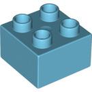 LEGO Medium Azure Duplo Brick 2 x 2 (3437)