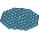 LEGO Medium Azure Plate 10 x 10 Octagonal with Hole and Snapstud (89523)