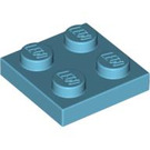 LEGO Medium Azure Plate 2 x 2 (3022)