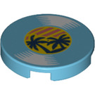 LEGO Medium Azure Tile 2 x 2 Round with Record Disc with Palm Trees with Bottom Stud Holder (76362)