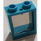 LEGO Medium Azure Window 1 x 2 x 2 without Sill with Transparent Glass