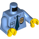 LEGO Medium Blue Minifigure Torso Collared Shirt with Button Pocket, Sheriff's Badge, and Blue Tie (76382 / 88585)