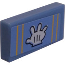 LEGO Medium Blue Tile 1 x 2 with Stripes and Glove Sticker with Groove