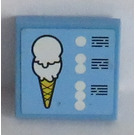 LEGO Medium Blue Tile 2 x 2 with Sticker from Set 3816 with Groove
