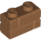 LEGO Medium Dark Flesh Brick 1 x 2 with Embossed Bricks (98283)