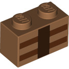 LEGO Medium Dark Flesh Brick 1 x 2 with Minecraft Decoration (19178)