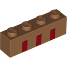 LEGO Medium Dark Flesh Brick 1 x 4 with Decoration (67451)