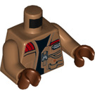 LEGO Medium Dark Flesh Finn Minifig Torso with Medium Dark Flesh Arms and Reddish Brown Hands (76382)