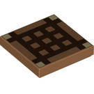 LEGO Medium Dark Flesh Tile 2 x 2 with Minecraft Grid with Groove (19177)