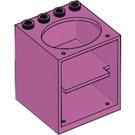 LEGO Medium Dark Pink Cabinet 4 x 4 x 4 with Sink Hole (6197)