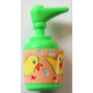 LEGO Medium Green Scala Bathroom Accessories Hand Soap Dispenser with Young Chickens Sticker