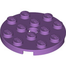 LEGO Medium Lavender Plate 4 x 4 Round with Hole and Snapstud (60474)