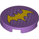 LEGO Medium Lavender Round Tile 2 x 2 with Decoration with Bottom Stud Holder (33360)