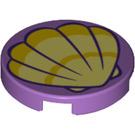 LEGO Medium Lavender Round Tile 2 x 2 with Decoration with Bottom Stud Holder (39468)