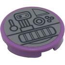 LEGO Medium Lavender Tile 2 x 2 Round with Pressure Controls Sticker with Bottom Stud Holder