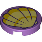 LEGO Medium Lavender Tile 2 x 2 Round with Sea Shell with Bottom Stud Holder (39468)