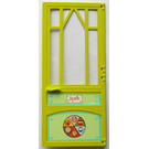 LEGO Medium Lime Scala Door Mullioned with Hinges with 4 Stickers from Set 3142 with Hinges