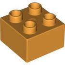 LEGO Medium Orange Duplo Brick 2 x 2 (3437)