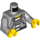 LEGO Medium Stone Gray Bandit / Prisoner, Hooded Torso, with '60675' on Striped Shirt. Torso (76382)