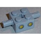 LEGO Medium Stone Gray Brick 2 x 2 with Pins and Axlehole with 2 Yellow Circles Sticker from Set 3831