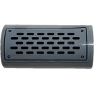 LEGO Medium Stone Gray Brick 2 x 4 with Curved Top with Exhaust Grille and 4 Screws Sticker