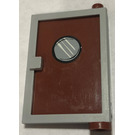 LEGO Medium Stone Gray Door 1 x 4 x 5 Right with Reddish Brown Glass and Porthole Sticker