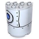 LEGO Gris pierre moyen Demi Cylindre 2 x 4 x 4 avec Bull Eye et Rivets Autocollant