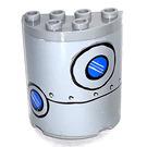 LEGO Gris pierre moyen Demi Cylindre 2 x 4 x 4 avec 2 Bull Eyes et rivets  Autocollant