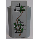 LEGO Medium Stone Gray Panel Wall 3 x 3 x 6 Corner with Bricks, Ivy Trunks and 14 Leaves Sticker