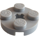LEGO Medium Stone Gray Plate 2 x 2 Round with Axle Hole (with '+' Axle Hole) (4032)