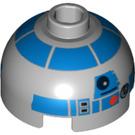 LEGO Medium Stone Gray R2-D2 Star Wars Round Brick 2 x 2 Dome Top (Undetermined Stud) (64069)