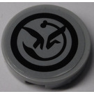 LEGO Medium Stone Gray Round Tile 2 x 2 with Black Yoda's Jedi Starfighter Symbol Sticker