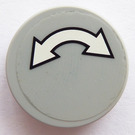 LEGO Medium Stone Gray Round Tile 2 x 2 with Double white arrows with a black border Sticker