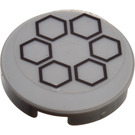 """LEGO Medium Stone Gray Round Tile 2 x 2 with Sticker Six Black Hexagons In a Circle with """"X"""" Bottom"""