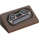 LEGO Medium Stone Gray Slope 1 x 2 (31°) with Keyboard, Buttons, and Lights Sticker