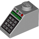 LEGO Medium Stone Gray Slope 1 x 2 (45°) with Keypad, Green Digital Display, and Buttons Pattern (50344)