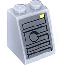 LEGO Medium Stone Gray Slope 2 x 2 x 2 (65°) with Yellow Rectangle, Gray Areas with Black Border Sticker with Stud Holder