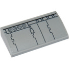 LEGO Medium Stone Gray Slope 2 x 4 Curved with Gray Pattern, Type 1 Sticker with Bottom Tubes