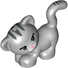 LEGO Medium Stone Gray Striped Leaning Cat with Pink Nose (12219 / 32787 / 93688)