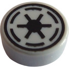 LEGO Medium Stone Gray Tile 1 x 1 Round with Galactic Republic Crest (16276)