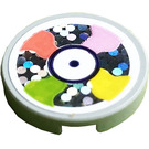 LEGO Medium Stone Gray Tile 2 x 2 Round with Coral, Pink, Yellow and Lime Decoration on Holographic Background Sticker with Bottom Stud Holder