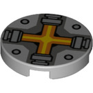 LEGO Medium Stone Gray Tile 2 x 2 Round with Cross with Bottom Stud Holder (24396)