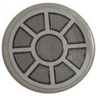 "LEGO Medium Stone Gray Tile 2 x 2 Round with Gray Wheel with Spokes Sticker with ""X"" Bottom"