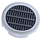 """LEGO Medium Stone Gray Tile 2 x 2 Round with Grille Sticker with """"X"""" Bottom"""