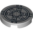 LEGO Medium Stone Gray Tile 2 x 2 Round with Tie Fighter Hatch with Bottom Stud Holder (74405)