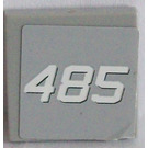 LEGO Medium Stone Gray Tile 2 x 2 with '485' Sticker with Groove