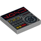 LEGO Medium Stone Gray Tile 2 x 2 with Alien Characters, Keypad, and Safe Dial with Groove (94595)