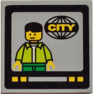 LEGO Medium Stone Gray Tile 2 x 2 with Minifig and CITY in Globe on TV Screen Sticker