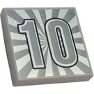 """LEGO Medium Stone Gray Tile 2 x 2 with Silver Number """"10"""" and Rays Around with Groove"""