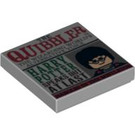 """LEGO Medium Stone Gray Tile 2 x 2 with """"The Quibbler"""" Decoration with Groove (92768)"""